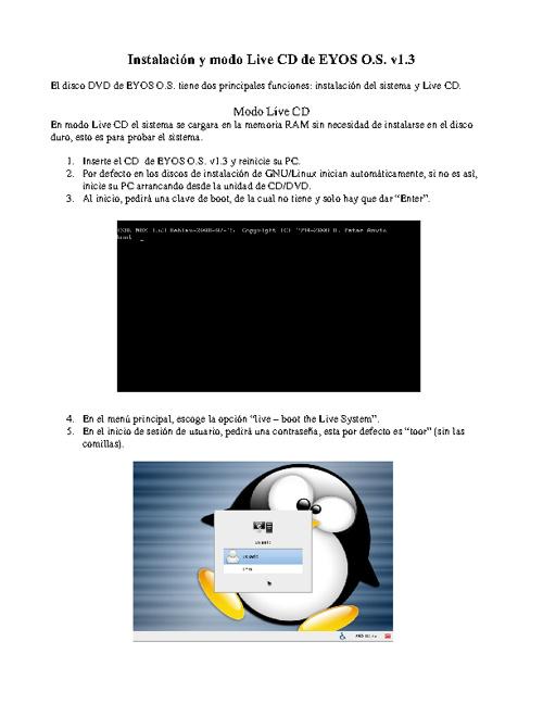 Instalación y modo Live CD de EYOS OS v1.3