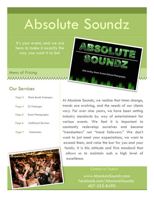 ABSOLUTE SOUNDZ BOOKLET OF SERVICES