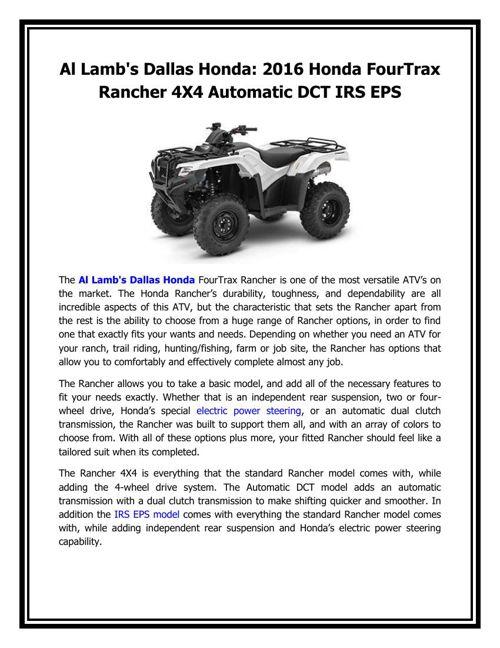 Al Lamb's Dallas Honda - 2016 Honda FourTrax Rancher 4X4 Automat