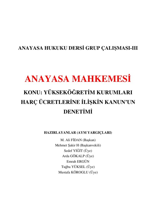 GRUP III - AYM - YASA DENETİMİ