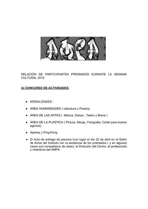 Listado de participantes premiados. Semana Cultural abril 2012