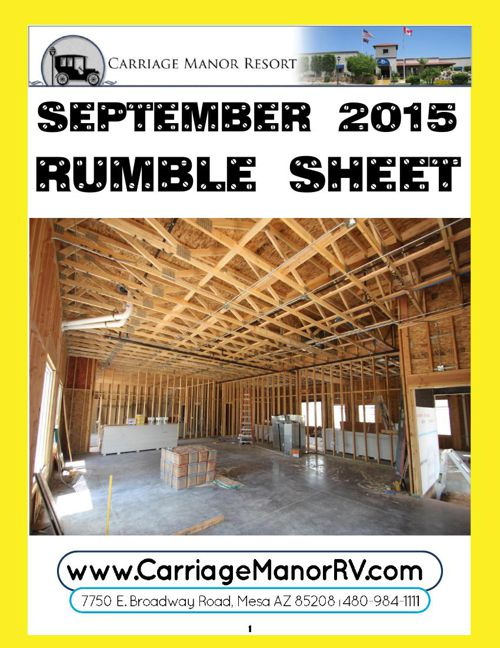 Carriage Manor Resort September 2015 Rumble Sheet
