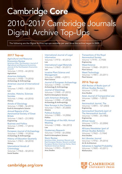 2017 Cambridge Journals Digital Archive Top Ups