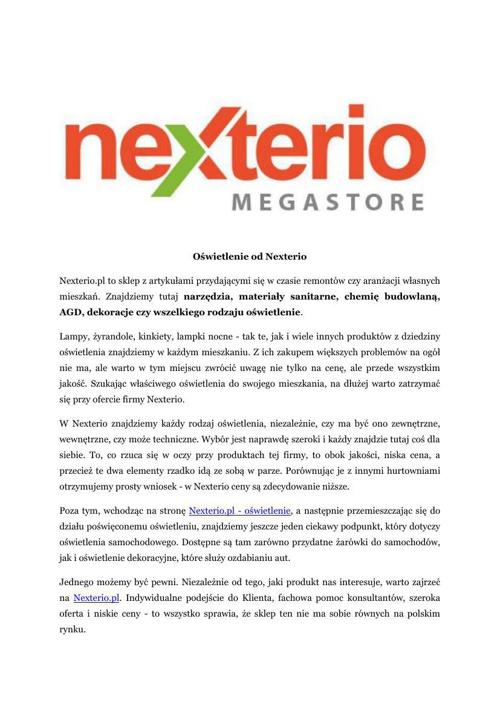 Nexterio - oswietlenie