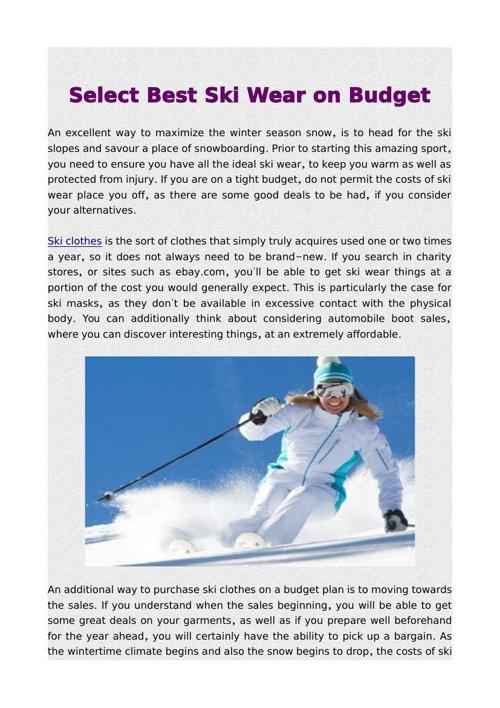 Select Best Ski Wear on Budget