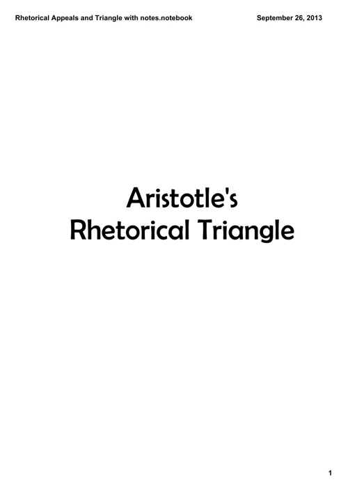 Class Notes on Rhetorical Appeals and Triangle