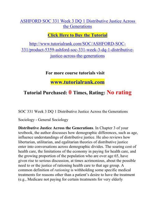 ASHFORD SOC 331 Week 3 DQ 1 Distributive Justice Across the Gene