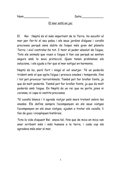 Contes de mar, expressió escrita.