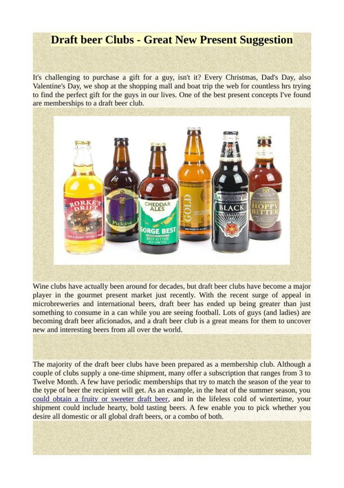 Draft beer Clubs - Great New Present Suggestion