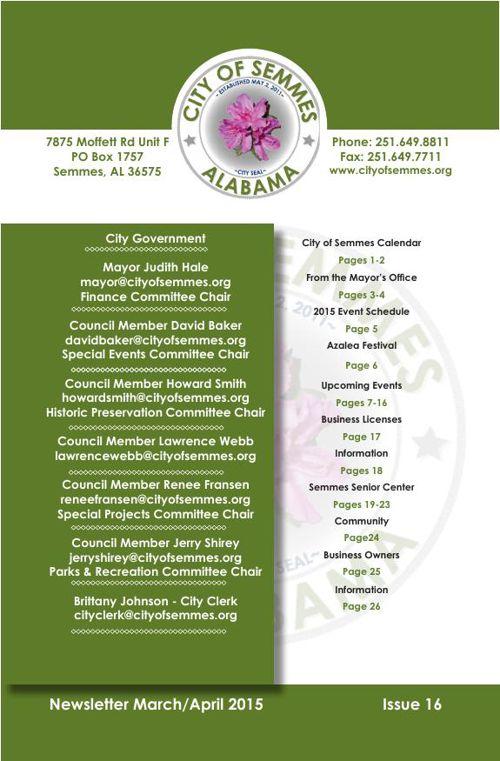 City of Semmes, Alabama - March - April 2015 Newsletter