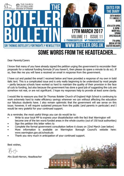 Boteler Bulletin 17th March 2017