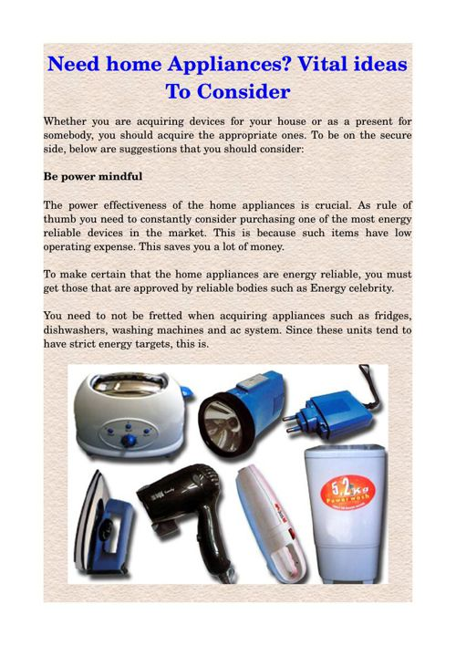 Need home Appliances? Vital ideas To Consider