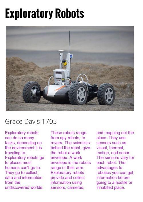 Exploratory Robots