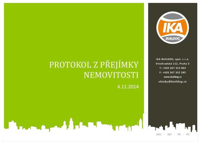 Ukázka protokolu z přejímky nemovitosti - IKA BUILDOG, s.r.o.