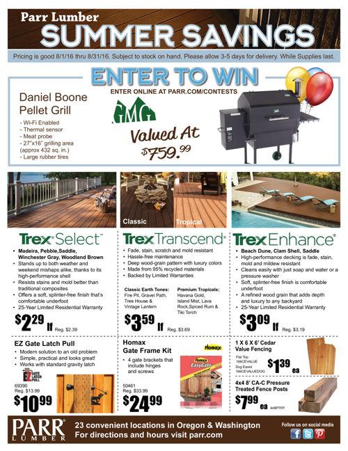 Parr Lumber August 2016 Sale