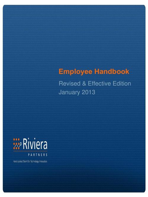 2013 Riviera Partners Employee Handbook