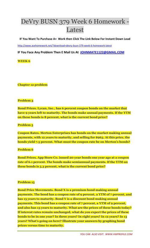 DeVry BUSN 379 Week 6 Homework - Latest