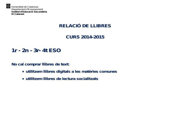 LLIBRES DE TEXT BATXILLERAT I CICLES FORMATIUS 14_15
