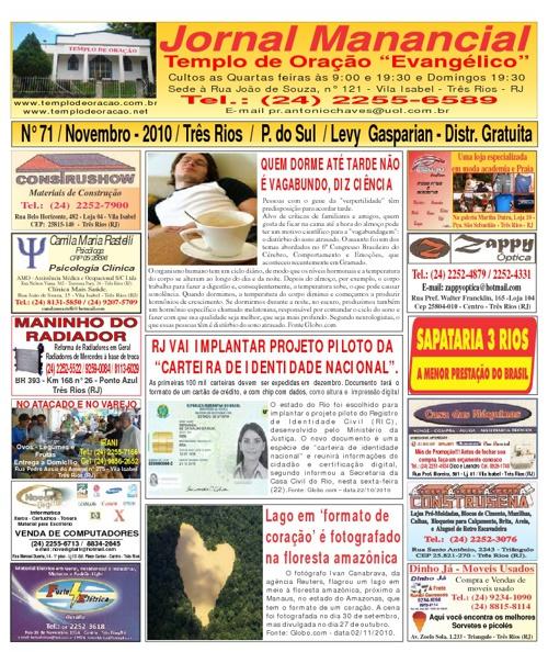Jornal Manancial do Mês de Novembro de 2010