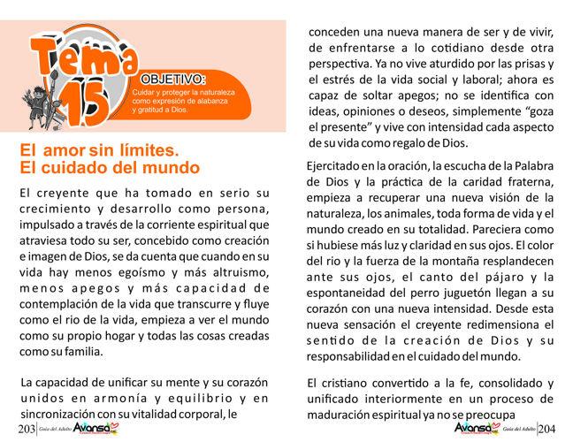 Tema 15. El amor sin límites. El cuidado del mundo