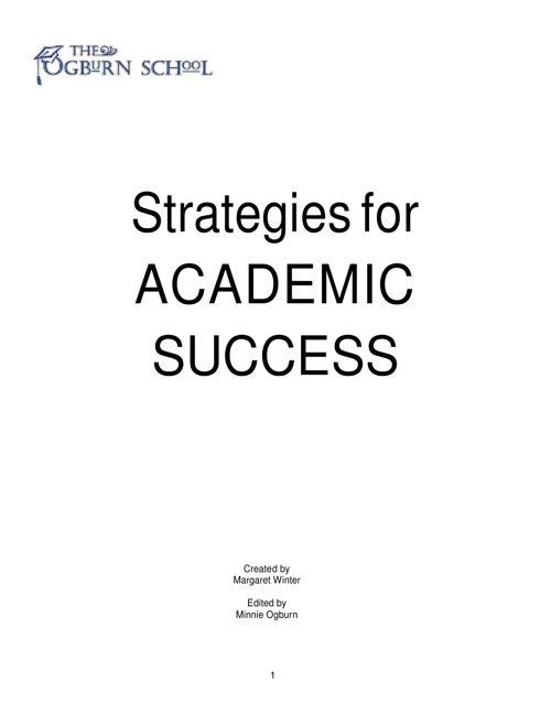 Strategies for Sucess.  rev 5_16