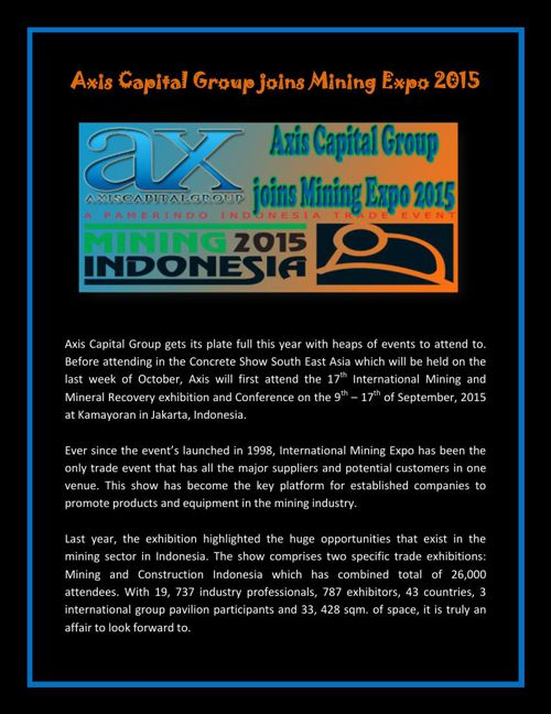 Axis Capital Group joins Mining Expo 2015