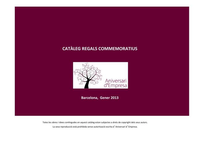 Catàleg Regals Commemoratius  - Aniversari d'Empresa