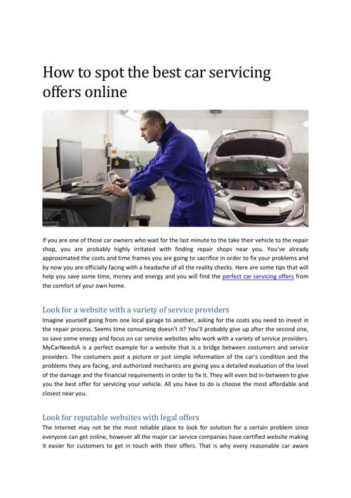 How to spot the best car servicing offers online