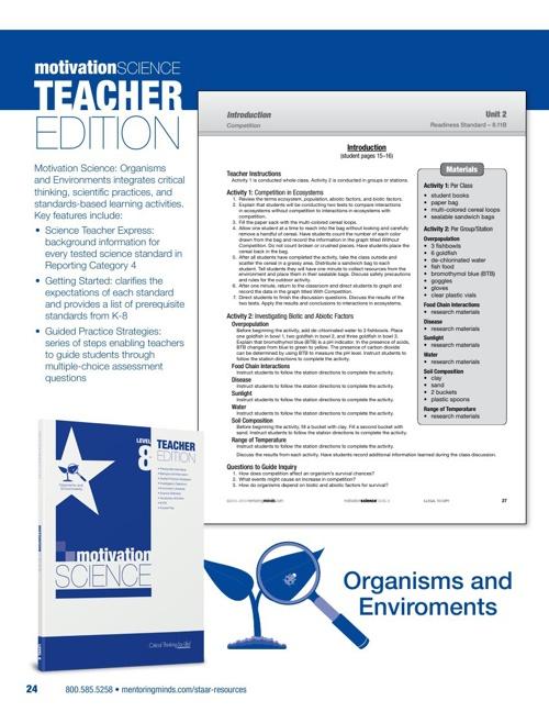 STAAR Motivation Science Level 8 Organisms TE