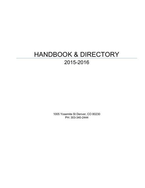 Parent Handbook 2015-2016