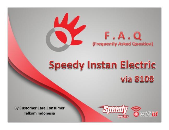 Speedy Instan Electric - Registrasi dan Top Up