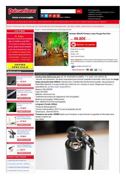 Acheter 200mW Pointeur Laser Rouge Pas Cher  prix : 48.80€