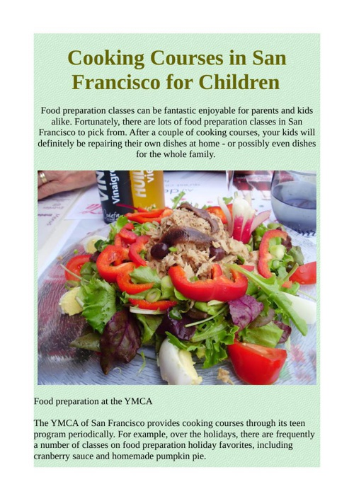 Cooking Courses in San Francisco for Children