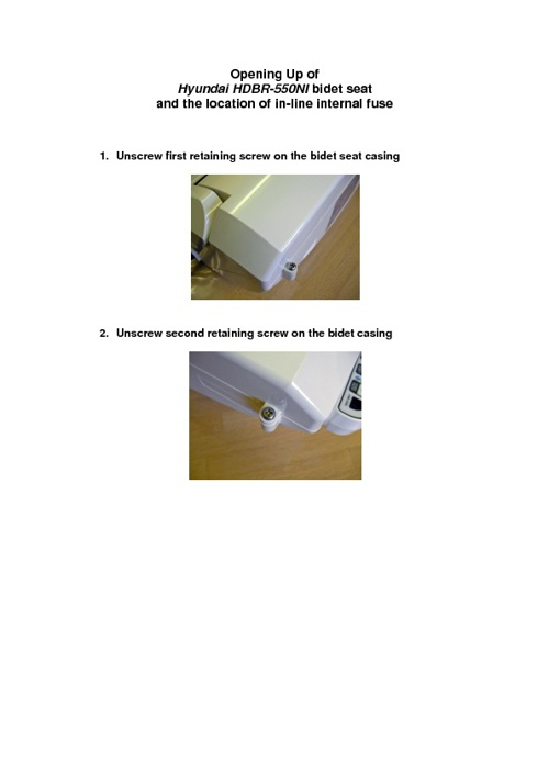 Opening up of Hyundai HDBR-550NI bidet seat and the location of