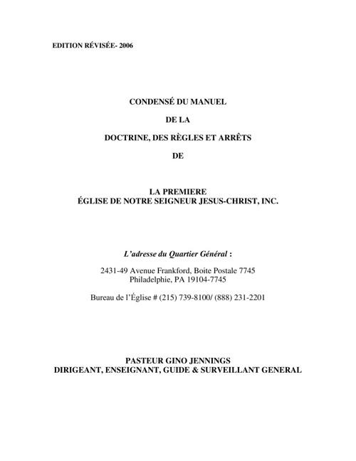 Copy of CONDENSÉ DU MANUEL DE LA DOCTRINE, DES RÈGLES ET ARRÊTS