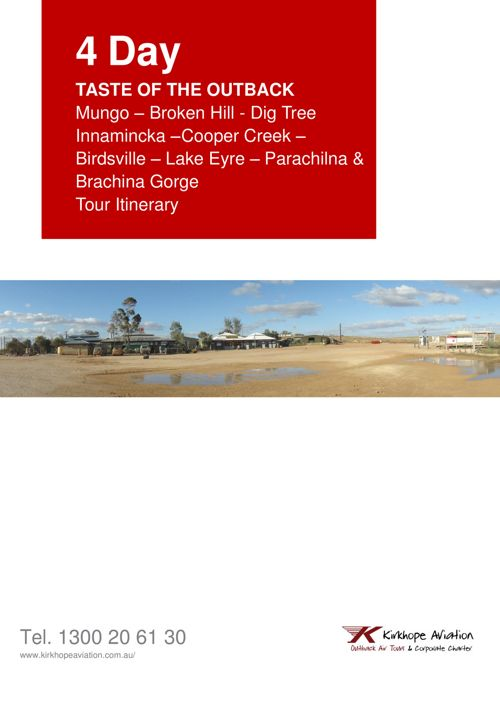 4 Day Taste of the Outback Inc Lake Eyre