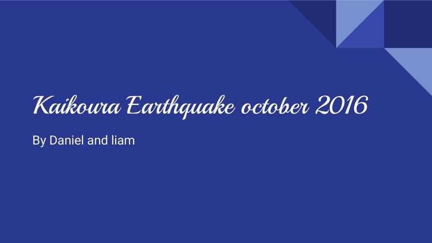 Kaikoura earthquake 2016