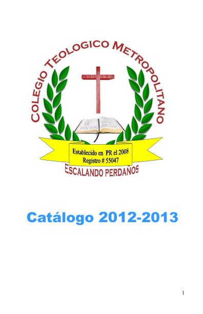 Catalogo Colegio Teologico Metropolitano Inc de PR 2012-2013