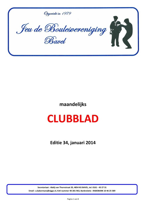 Clubblad Jeu de Boulesvereniging Bavel jan 2014
