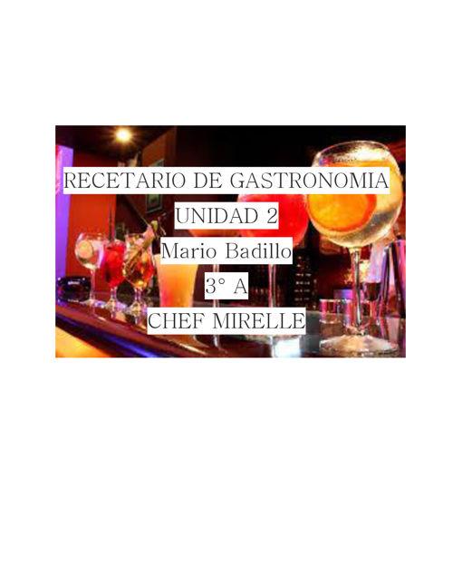 RECETARIO DE GASTRONOMIA MARIO