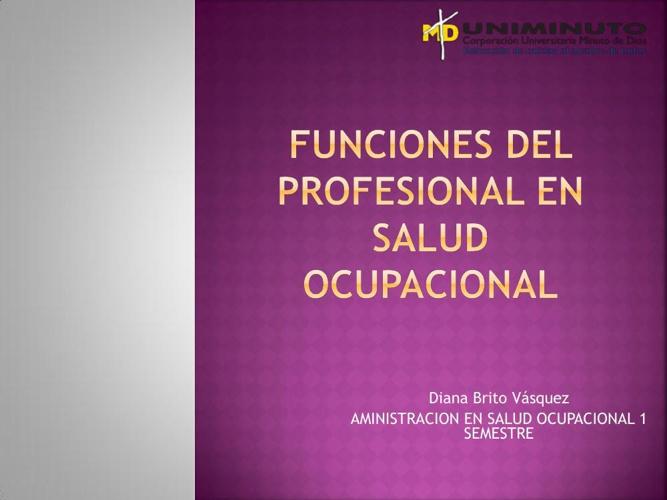 Funciones del profesional en salud ocupacional