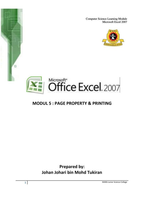 EXCEL 2007 MODUL 5 - PAGE PROPERTY AND PRINTING