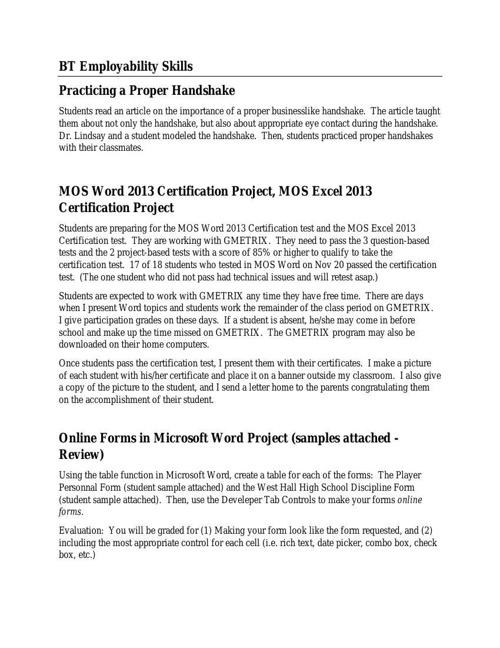 BT Employability Skills (4) Dec 1 - Proper handshakes, MOS, Mail