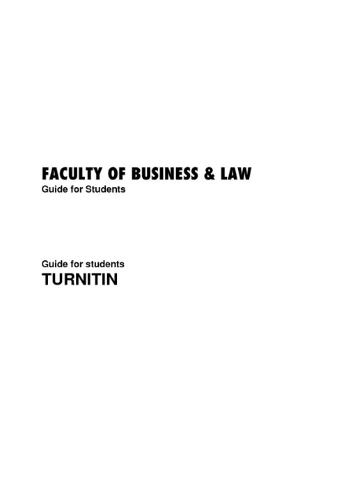 Turnitin Student Guide