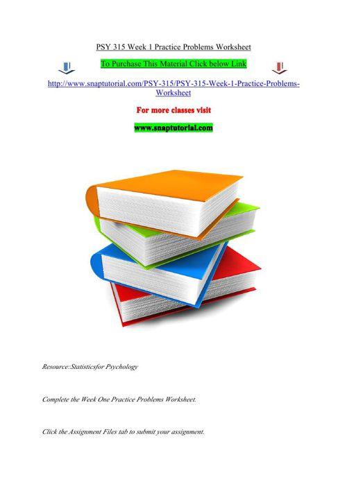 PSY 315 Week 1 Practice Problems Worksheet