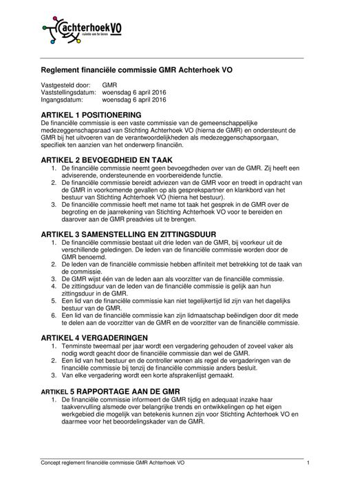 VASTGESTELD reglement financiële commissie GMR Achterhoek VO
