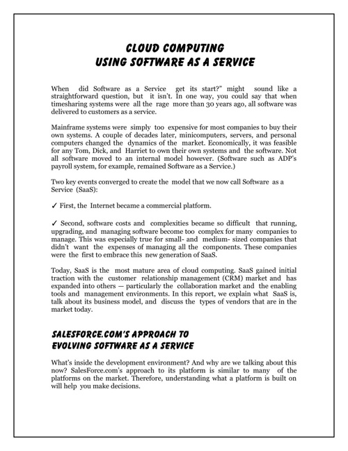 Using Software As A Service