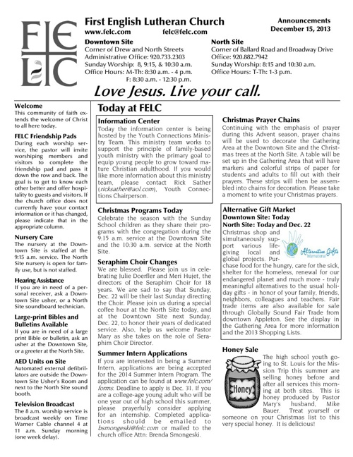 FELC Weekly Announcements for December 15, 2013