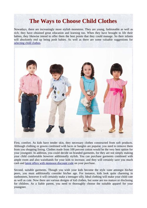 The Ways to Choose Child Clothes