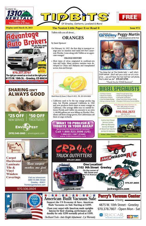 Tidbits of Greeley/Centerra/Loveland, Issue 972